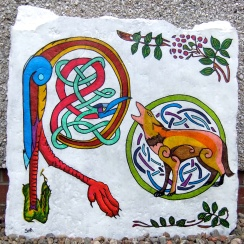 Celtic 'R' with 'wolf/hound' celtic animal sign
